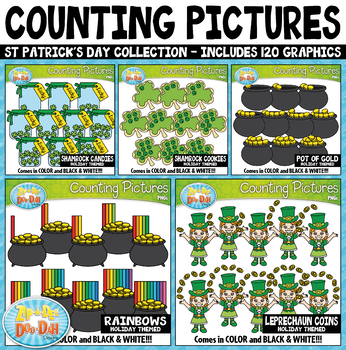 St. Patrick's Day Math Counting Pictures Clipart Mega Bundle