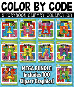 Storybook Color By Code Clipart Mega Bundle Collection