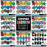 Summer Rainbow Doodle Clipart Bundle {Zip-A-Dee-Doo-Dah Designs}