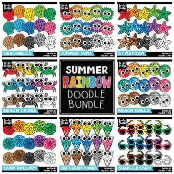 Summer Rainbow Doodle Clipart Bundle {Zip-A-Dee-Doo-Dah Designs}