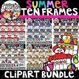 Summer Ten Frames Clipart Bundle