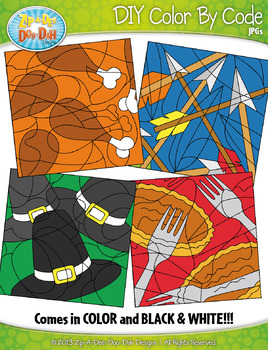 THANKSGIVING Color By Code Clipart {Zip-A-Dee-Doo-Dah Designs}