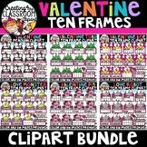 Valentine Ten Frames Clipart Bundle {Valentines Day Clipart}