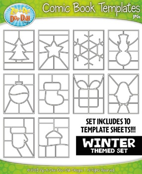 Winter Themed Comic Book Strip Templates Set — Includes 10