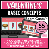 Valentine's Day Basic Language Concepts No Prep Speech Therapy Boom Cards™