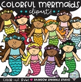 Colorful Mermaids Clipart {mermaid clipart}