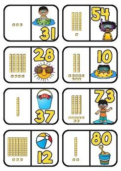 Base 10 Dominoes- Summer Theme