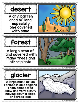Biomes & Landforms Word Wall and Interactive Notebook Cards