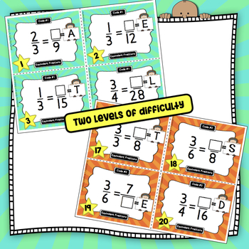 Equivalent Fractions Fun Coded Task Cards