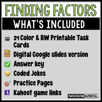 Finding Factors Task Card Set #2 with Coded Joke Answer Document