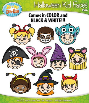 Halloween Kid Faces Clipart Set — Includes 20 Graphics!