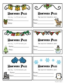 Holiday Cards, Envelopes, Homework Passes