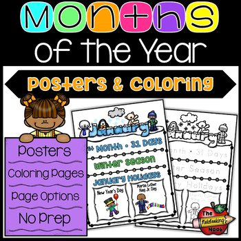 Months of the Year Posters and Coloring