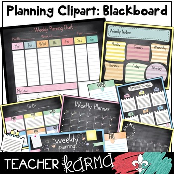 Planner U0026 Calendar Chalkboard Clipart + Build Your Own Chart