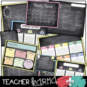 Planner & Calendar Chalkboard Clipart + Build Your Own Chart
