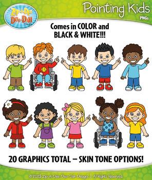 Pointing Kid Characters Clipart {Zip-A-Dee-Doo-Dah Designs}