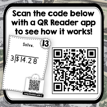 QR Coded Task Cards for Long Division with Money