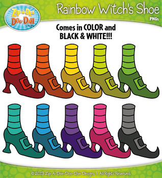 {FREE} Rainbow Witch's Shoe Clipart Set — Over 10 Graphics!