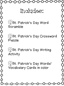 St. Patrick's Day Activity Packet!