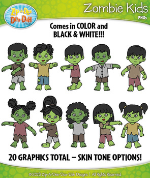 {FLASH FREEBIE} Zombie Kid Characters Clipart — Includes 2
