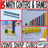 12 Math centers using unifix or snapcubes and worksheets PreK, Kinder and SPED
