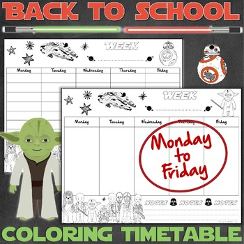 20 weekly timetables for Star Wars fans - PRINTABLE - 5 DAYS