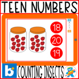 Distance Learning Boom Cards Counting Insects Teen Numbers