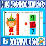 Christmas Non-standard measurement Spanish Boom Cards Kinder 1st cubes