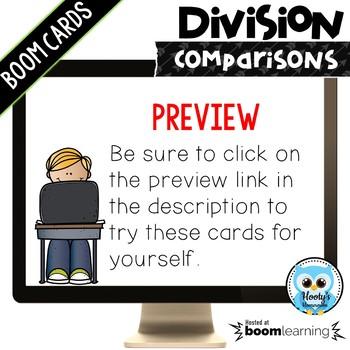 Division Comparisons Digital Task Cards