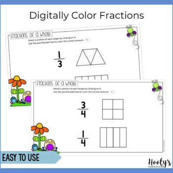 Fractions of a Whole Paperless Practice for Google Apps