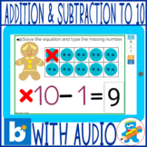 Gingerbread man Addition & Subtraction to 10 Boom Cards Kinder 1st SPED
