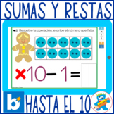 Gingerbread Addition & Subtraction to 10 Spanish Boom Cards Kinder, 1st.