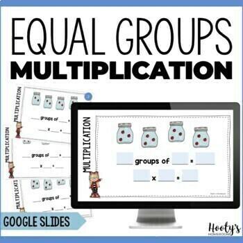 Equal Groups Multiplication -  Digital Task Cards for Google Apps