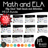 First Grade Center Activities Clip Card Bundle - Math and Literacy Task Cards