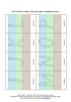 {FLASHCARDS} Capital Letter Outlines with earth paper writing prompt lines