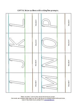 {FLASHCARDS} Capital Letter Outlines with writing prompt lines