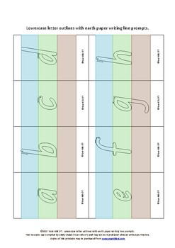 {FLASHCARDS} Lowercase letter outlines with earth paper writing prompt lines