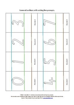 {FLASHCARDS} Numbers 0-20 Outlines with writing prompt lines