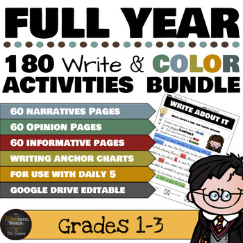 Harry Potter Themed Classroom - Write and Color Writing Prompts FULL YEAR Bundle