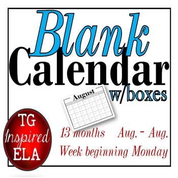 Blank Calendar -- No Clip Art