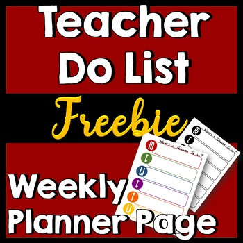 Planner Pages: Teacher To-Do List by day -- Color & Black