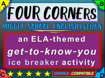 """""""FOUR CORNERS"""" Get-to-know-you ice breaker game for middle school ENGLISH class"""
