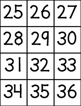 **FREE** 120 Chart Numbers