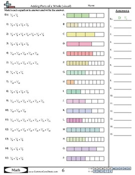 (FREE) Adding Fractions Common Core Worksheet copyright by: www.commoncore.com