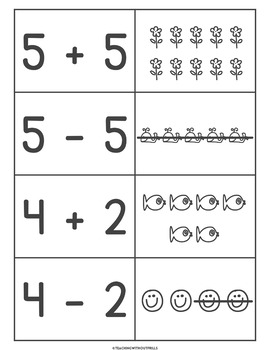 |Kindergarten & 1st Grade| Addition & Subtraction Matching Cards Math Center