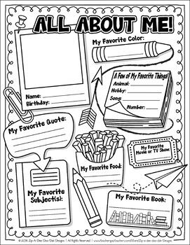 FREE All About Me Activity Worksheet Template {Zip-A-Dee-Doo-Dah ...