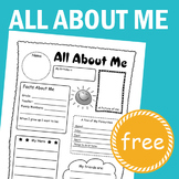 [FREE] All About Me - school activity