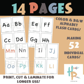 **FREE** Alphabet Flash Cards in Color and B&W