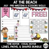 *FREE* At The Beach • Pre-Writing, Scissors • Lines, Paths, Shapes • Preschool