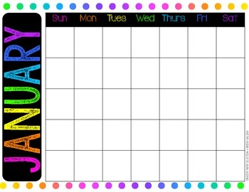 {FREE} Bold and Brights Printable Calendar BLANK {Creative Paper Collection}